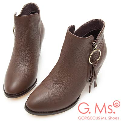 G.Ms. 牛皮銅環皮墜飾踝短靴-咖啡