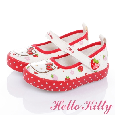 HelloKitty 草莓系列舒適減壓防滑休閒娃娃童鞋-白紅