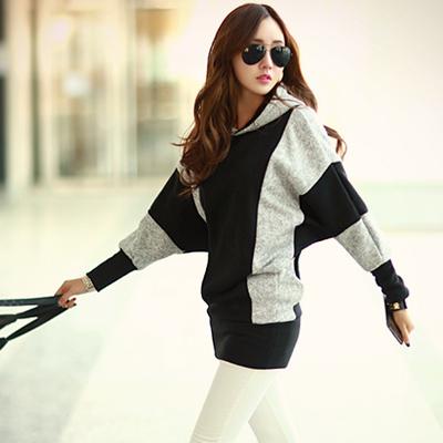雙色混搭保暖鋪棉連帽衣 (黑色)-N.C21