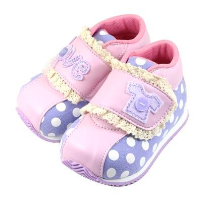 Swan天鵝童鞋-Love圓點蕾絲機能學步鞋1538-紫
