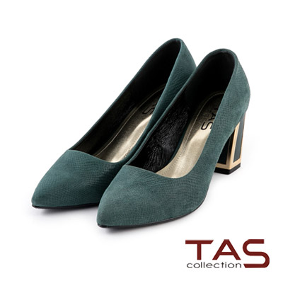 TAS-壓紋羊皮復古幾何金屬粗跟鞋-墨綠