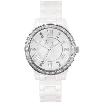 NATURALLY JOJO  帕里斯之愛晶鑽陶瓷腕錶-白/35mm