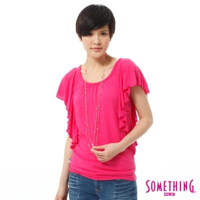 SOMETHING-飄逸荷葉袖T恤-女-玫瑰紅