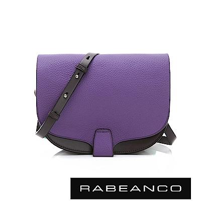 RABEANCO ANVA 輕巧馬鞍粒面牛皮斜背包  紫
