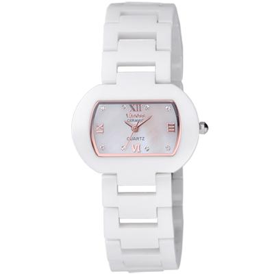 Vaness 經典韻味酒桶陶瓷腕錶-白x玫瑰金/33mm