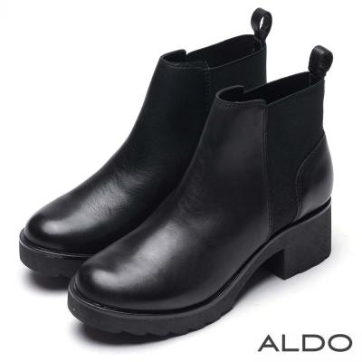 ALDO 黑色真皮幾合彈性鋸齒厚底短靴~尊爵黑色