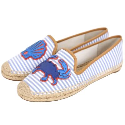 TORY BURCH CRAB ESPADRILLE 條紋拼接貝殼螃蟹草編鞋