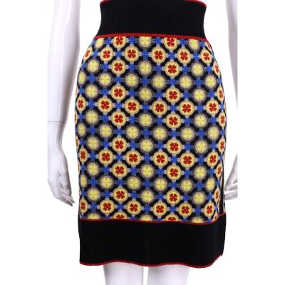 PHILOSOPHY 黑色幾何印花針織及膝裙