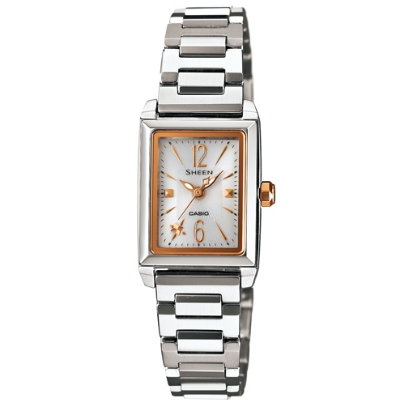 SHEEN 優雅時尚太陽能都會腕錶(SHE-4503SBD-7A)-白x玫瑰金/22mm
