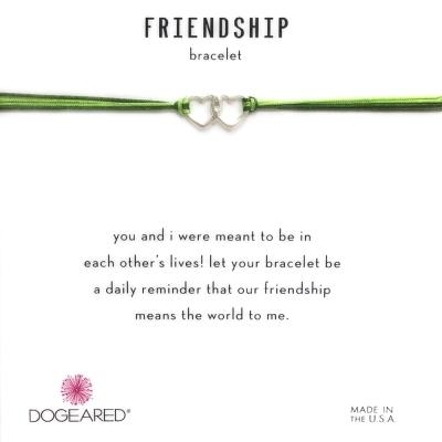 Dogeared Friendship 銀色愛心手鍊 迷你雙墜 亮綠X軍綠 防水繩衝浪手鍊
