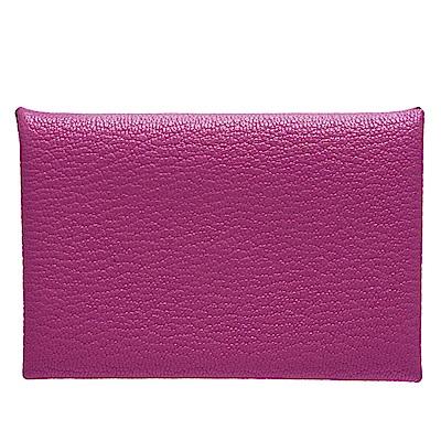 HERMES 經典Calvi系列山羊皮折疊暗釦名片/零錢包(紫紅)