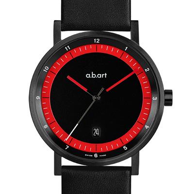 a.b.art O系列 同心圓軌極簡風格腕錶-黑紅/40.5mm