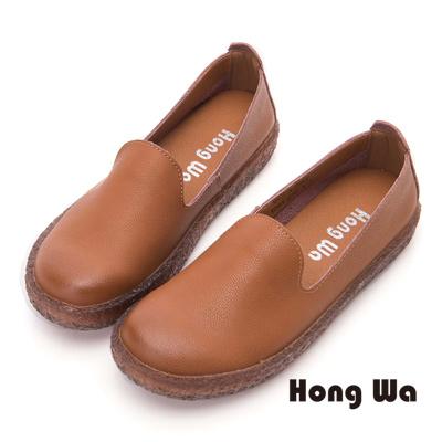 Hong Wa 經典簡約牛皮素面包鞋- 棕