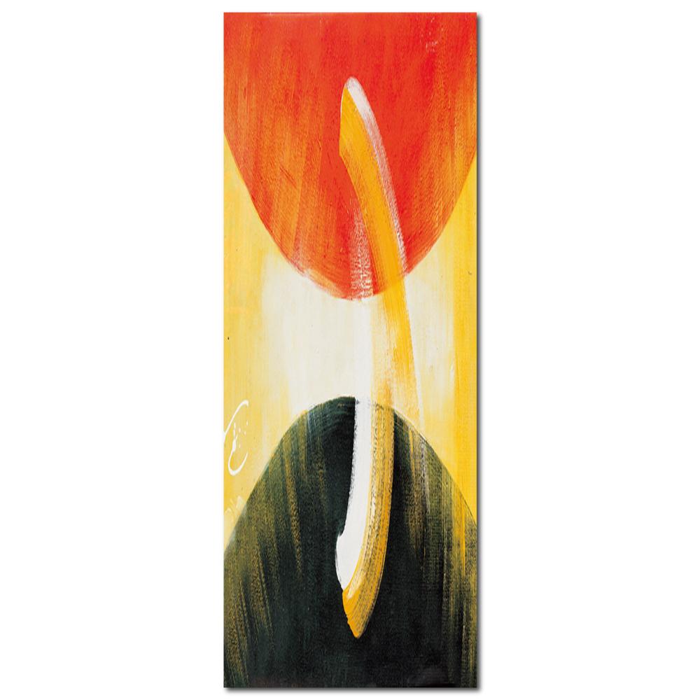 橙品油畫布 - 單聯抽象風無框藝術掛畫 - 互助30x80cm