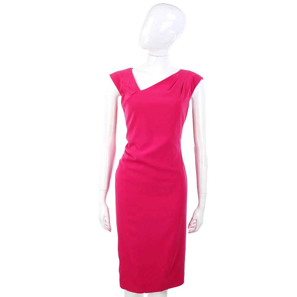 Max Mara-WEEKEND 桃紅色不對稱V領設計無袖洋裝