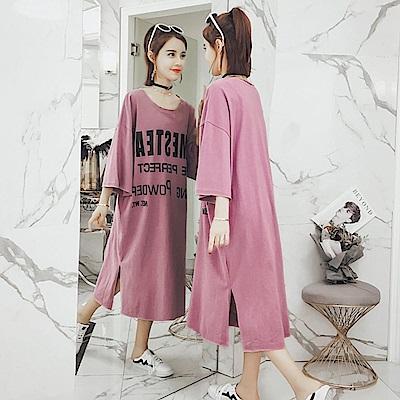 中大尺碼OMES英文字開叉超長版棉質洋裝XL~4L-Ballet Dolly