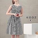 東京著衣-KODZ 菲菲聯名時尚設計條紋洋裝-XS.S.M.L(共一色)