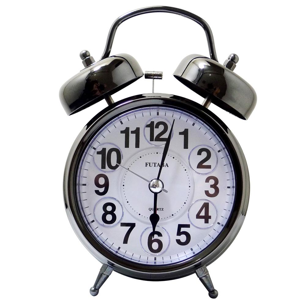 復古金屬鐵打鈴雙耳貪睡鬧鐘 W-729 (鎢鋼色)