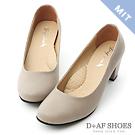 D+AF 舒適百搭.MIT素面圓頭5cm粗跟鞋*灰