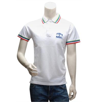 F&M 刺繡LOGO純棉紅藍綠織邊立領短袖POLO衫(白)