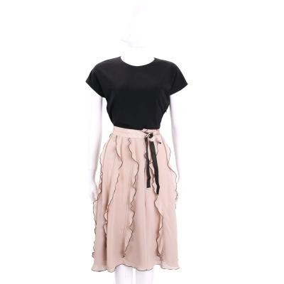 Max Mara 黑x粉色荷葉滾邊短袖洋裝(附腰帶)