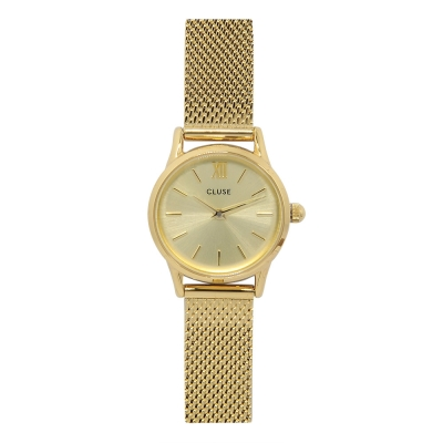 CLUSE荷蘭精品手錶 VEDETTE金色系列 金色錶盤/金色金屬錶帶24mm