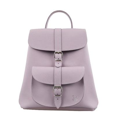 GRAFEA BABY系列經典手工牛皮手提後背包(粉紫)