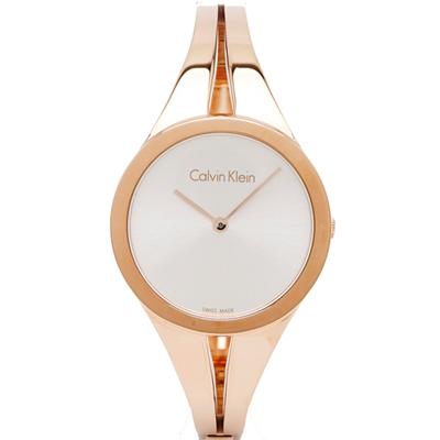 CK Calvin Klein 極致玩美手錶(K7W2S616)-銀面X玫瑰金/28mm