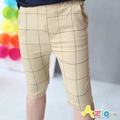 Azio Kids 短褲 細線格紋窄版短褲(卡其)