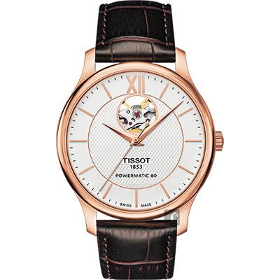 TISSOT 天梭 Tradition 80小時動力鏤空機械腕錶-銀x玫塊金框/40mm T0639073603800
