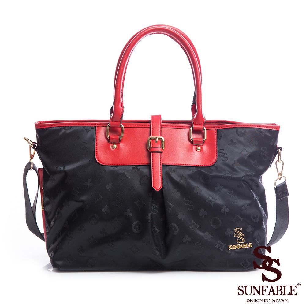 SUNFABLE-米蘭假期x品牌印花叉扣造型兩用包-玫瑰紅