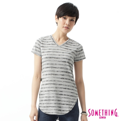 SOMETHING 斑駁印條長版V領T恤-女-灰色