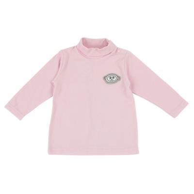 愛的世界 彈性立領肩扣長袖上衣-粉/6個月~4歲