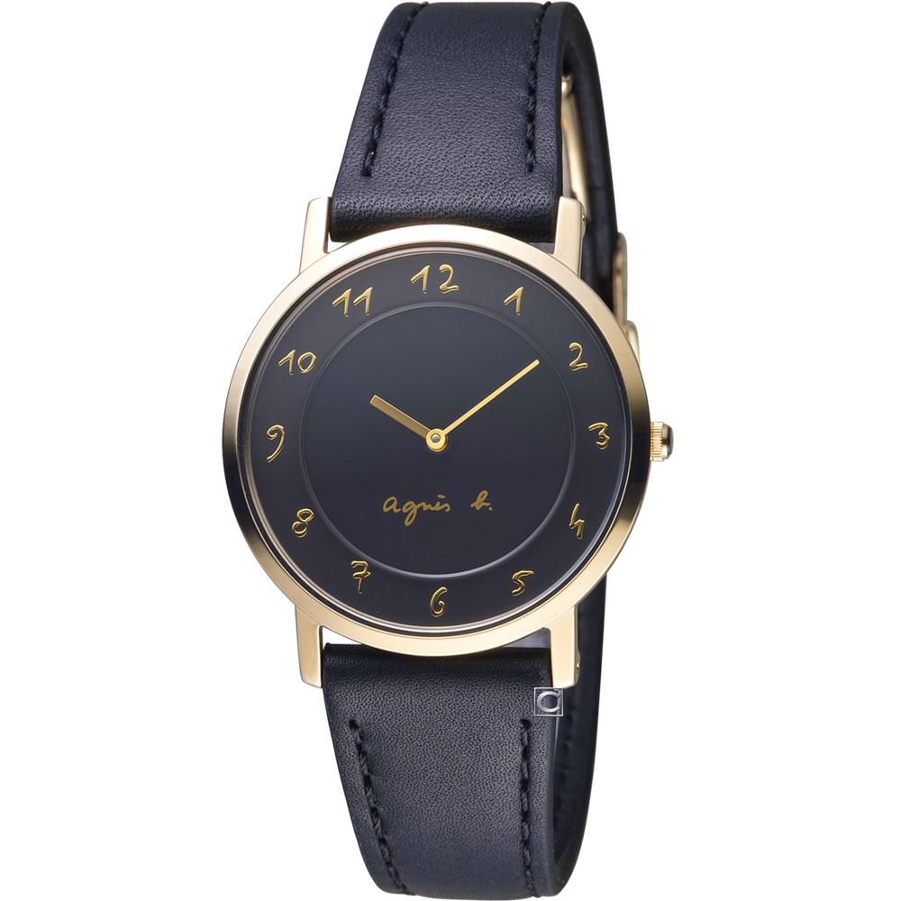 agnes b.簡約手繪時標石英錶 (BG4006P1)黑x金/34mm