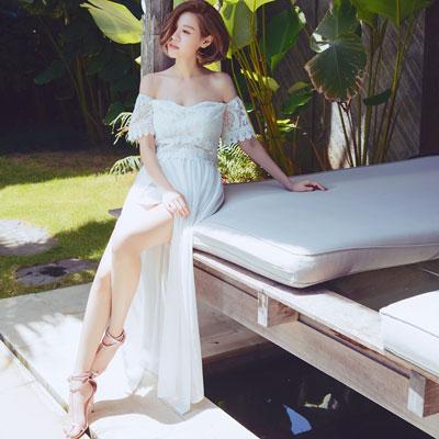 AIR SPACE CHIAO聯名蕾絲平口套裝(白)#