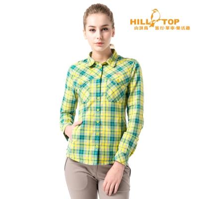 【hilltop山頂鳥】女款吸濕排汗抗UV長袖襯衫S05F67亮黃格