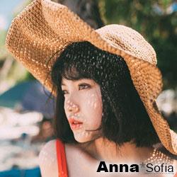 AnnaSofia 簡約綁帶超大寬簷 寬簷防曬遮陽草帽淑女帽(駝系)