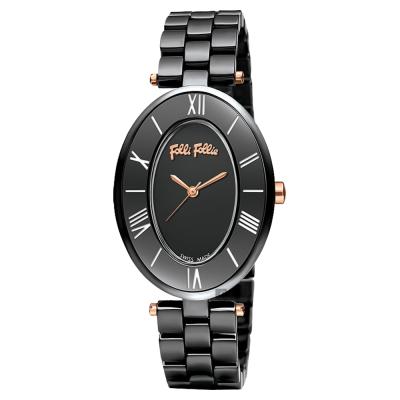 Folli Follie ROMANCE 羅馬橢圓陶瓷女錶-黑/28mm
