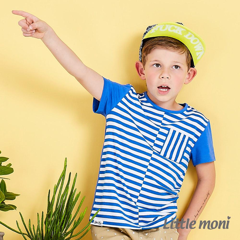 Little moni 美式休閒條紋撞色棉上衣   皇家藍