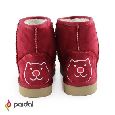 Paidal經典小P熊及踝短筒雪靴-熱情紅