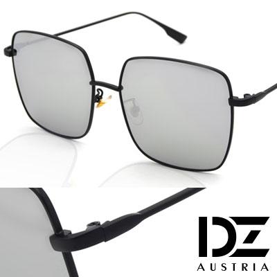 DZ 細邊幾何方框 抗UV太陽眼鏡 墨鏡(黑框水銀膜)