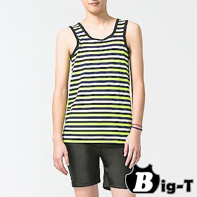 泳衣束胸 繽紛綠無袖套頭橫條泳衣褲組(S-2XL) BIG-T
