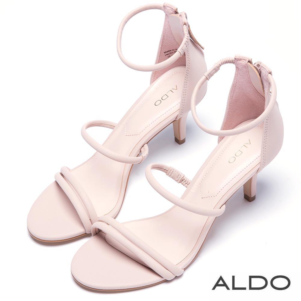 ALDO 原色窄版繫帶後拉鍊式繫踝涼鞋~愛戀粉色