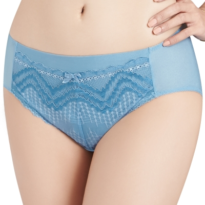 思薇爾 挺享塑系列M-XXL蕾絲中腰三角內褲(北極藍)