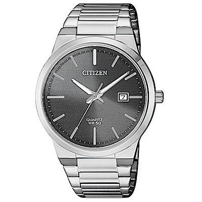 CITIZEN星辰 內斂型男深銀灰鋼帶石英男錶(BI5060-51H)-灰/39mm