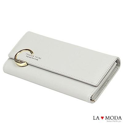 La Moda 時尚品牌Look大C釦大容量多卡位長夾(灰)