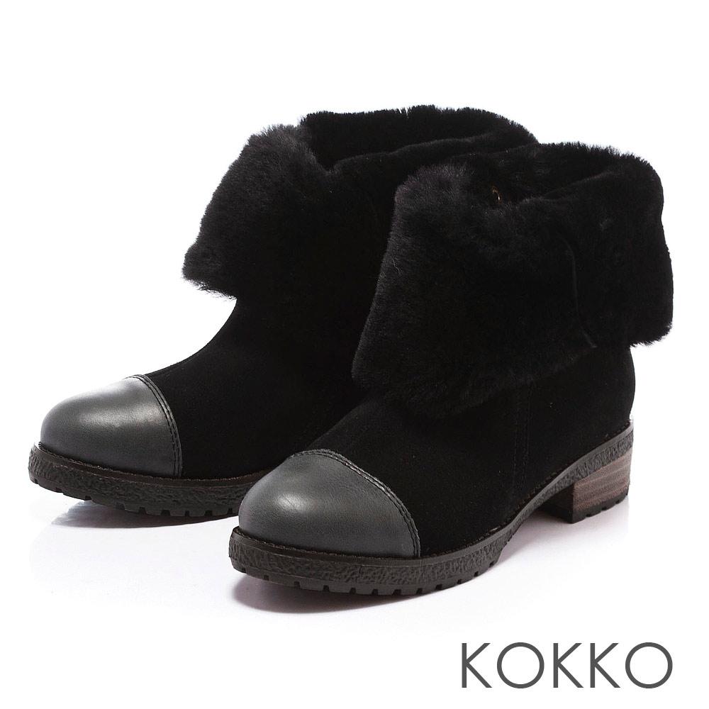 KOKKO 玩酷風潮 - 保暖真皮2Way毛毛雪靴 - 黑