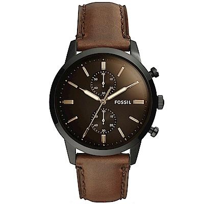 FOSSIL Townsman自信風範計時手錶(FS5437)-咖啡/44mm