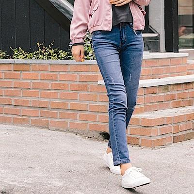 彈性雙排釦刷色破損感牛仔褲-OB大尺碼