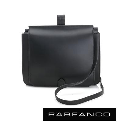 RABEANCO-迷時尚牛皮系列翻蓋方塊斜背包-黑